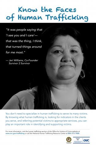 Faces of Human Trafficking Poster for Service Providers and Allied Professionals